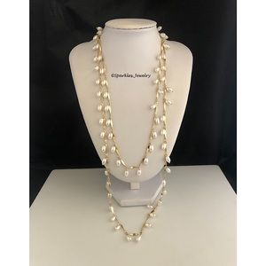 Plunder Pearl Necklace - Oval pearls gold chain